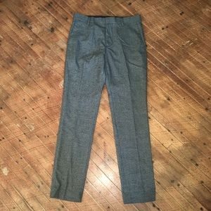 H&M 32R stretch flat front houndstooth trousers